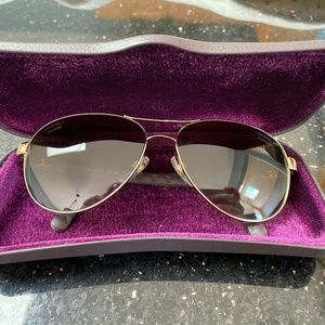 CHANEL Sunglasses Brown Quilt Leather Gold Aviator